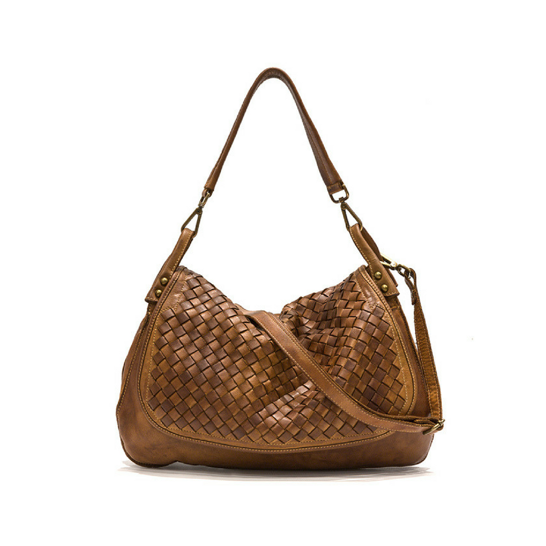 FRANCESCA Woven Flap Bag Tan