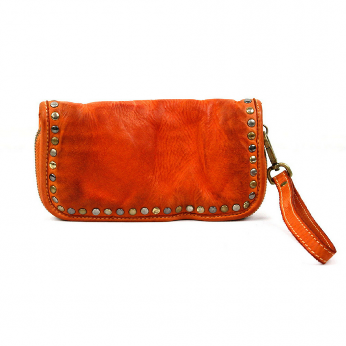 SIMONA Wrist Wallet With Studs Burnt Orange