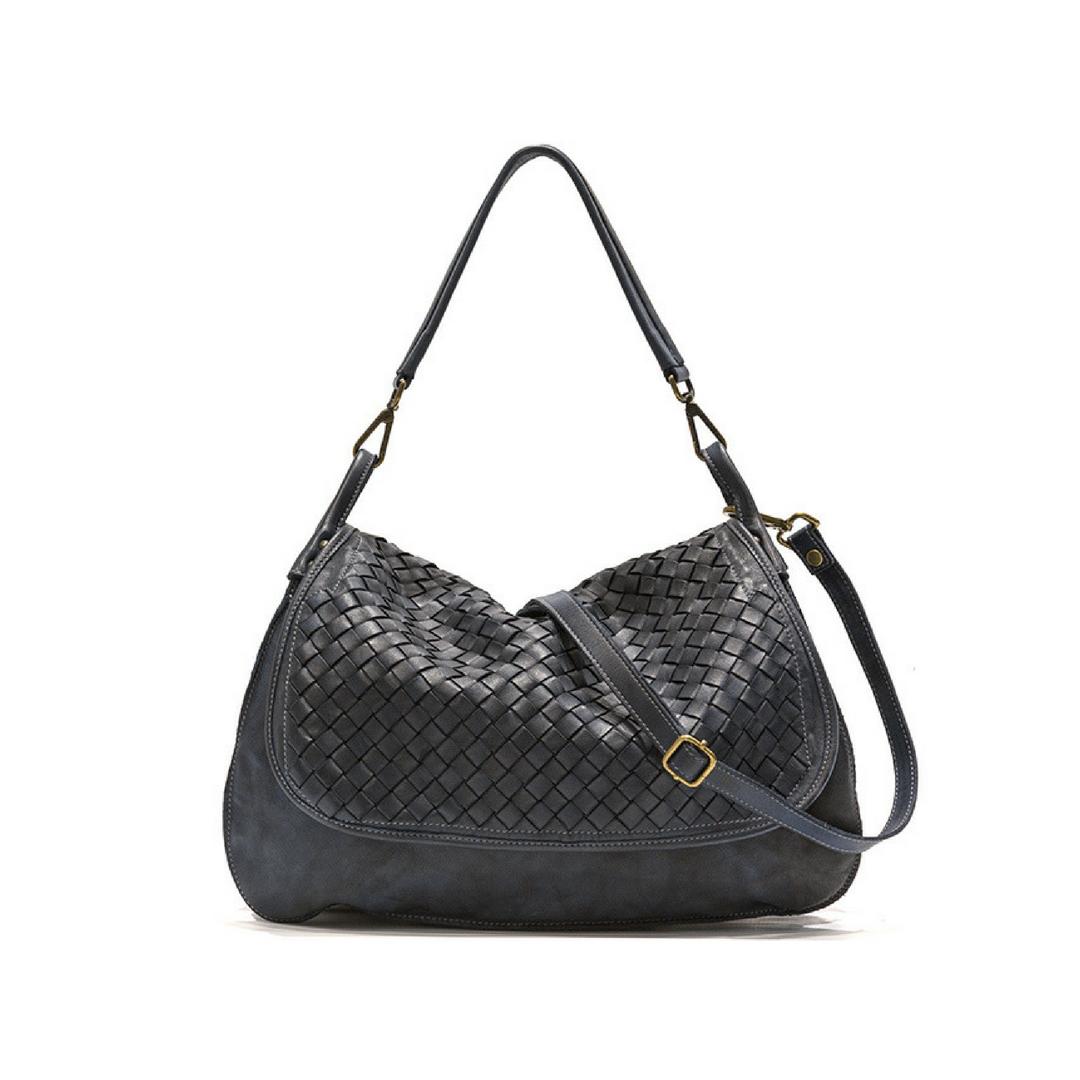 FRANCESCA Woven Flap Bag Black
