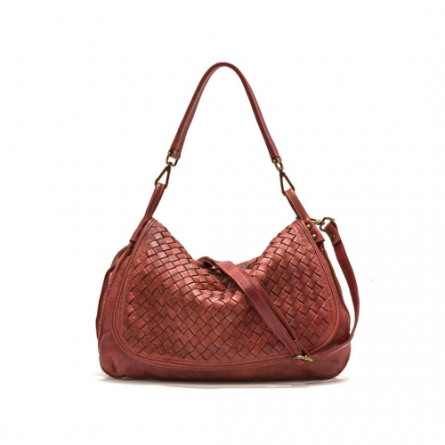 FRANCESCA Woven Flap Bag Rust