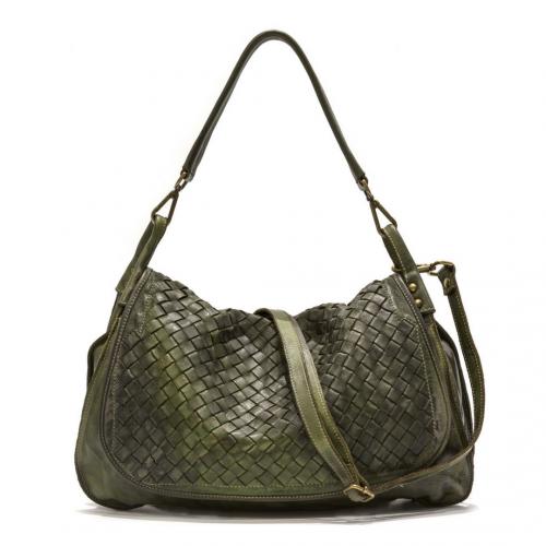 FRANCESCA Woven Flap Bag Green
