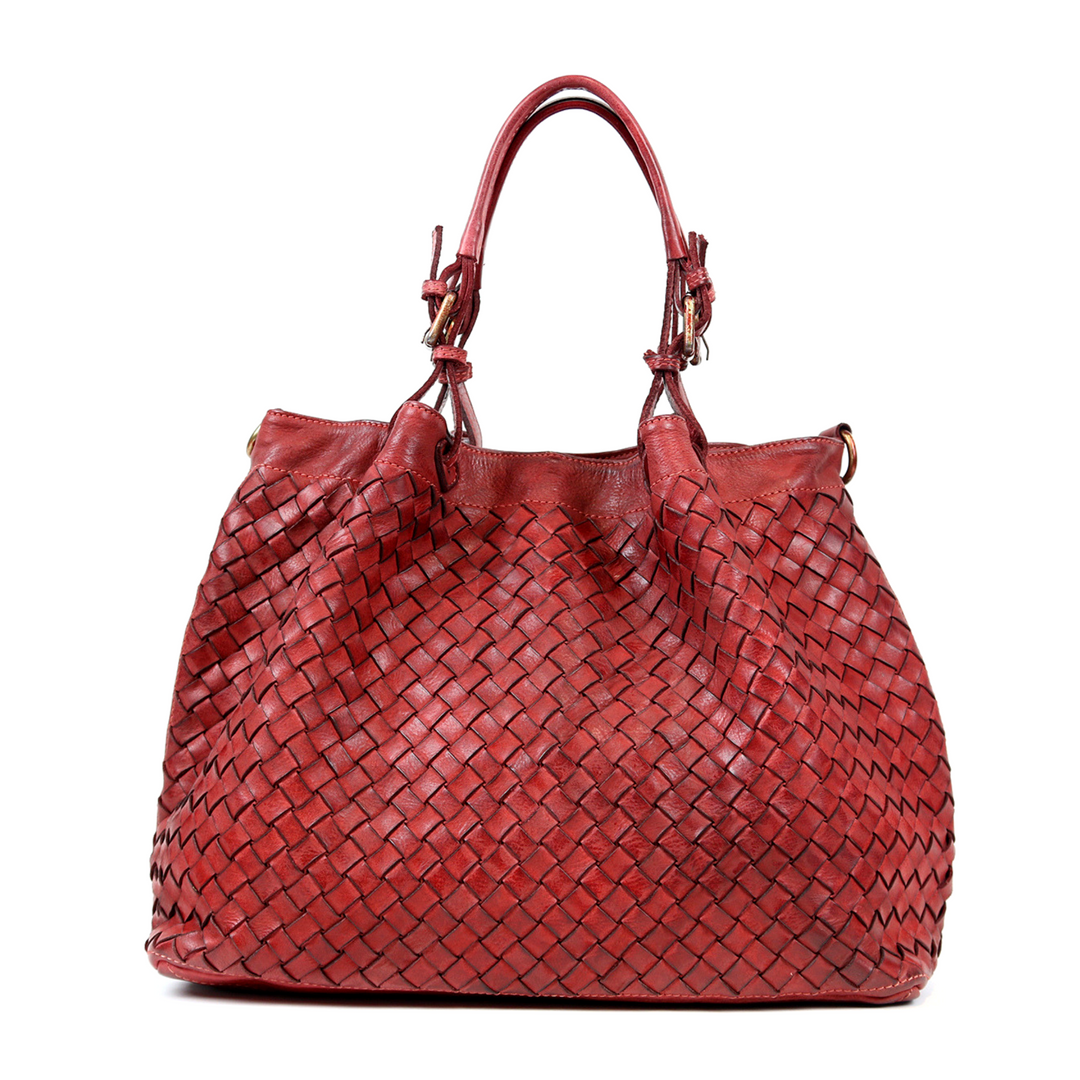 LUCIA Tote Bag Large Weave Bordeaux