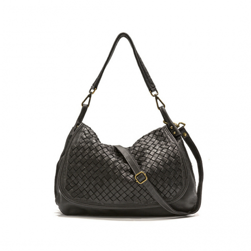Francesca Woven Flap Bag Black