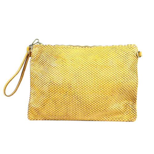 GIORGIA Textured Large Clutch Bag Yellow