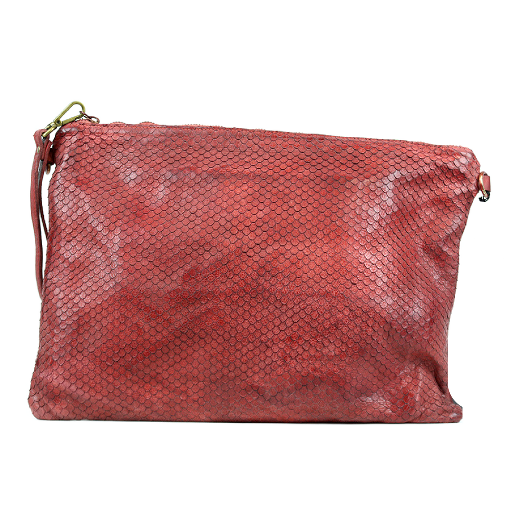 GIORGIA Textured Large Clutch Bag Red