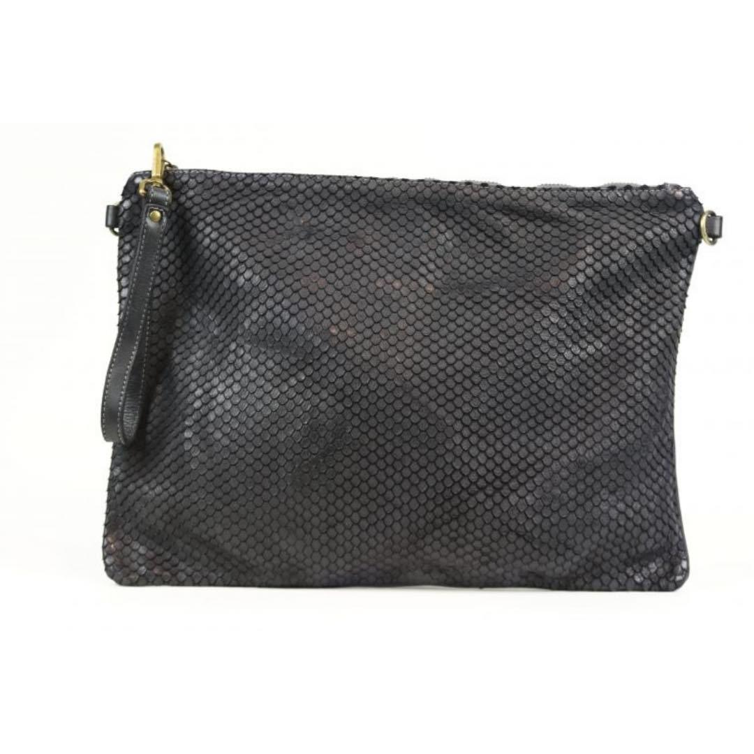 GIORGIA Textured Large Clutch Bag Black