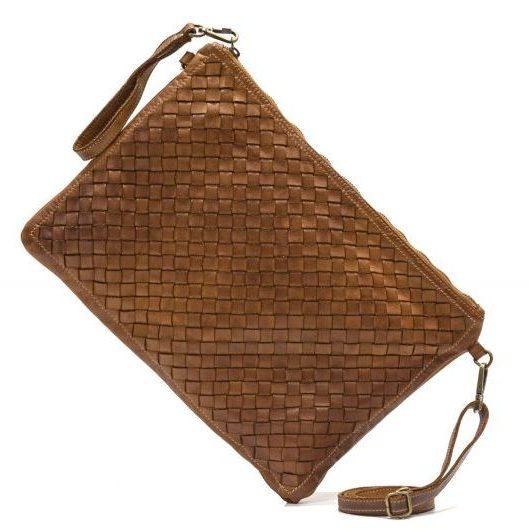 GIORGIA Woven Large Clutch Bag Tan