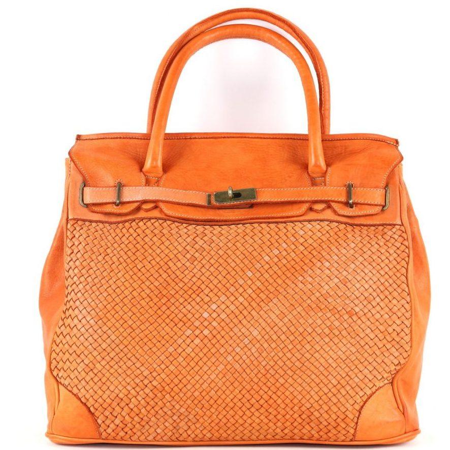 ALICIA Woven Structured Bag Orange