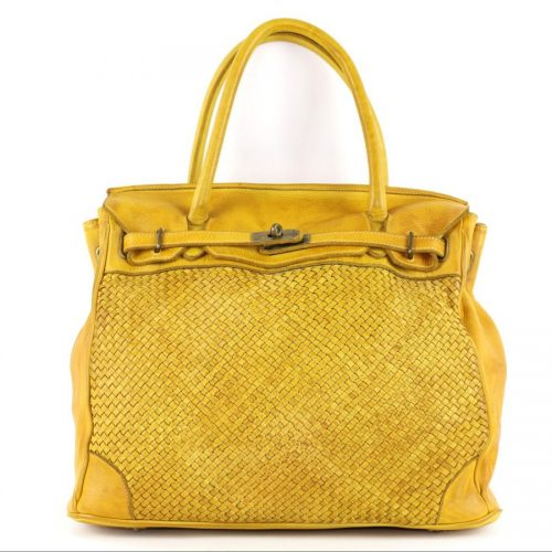 ALICIA Woven Structured Bag Yellow