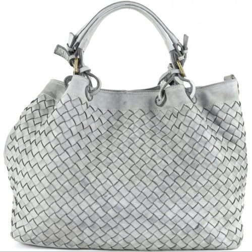 LUCIA Tote Bag Large Weave Light Grey