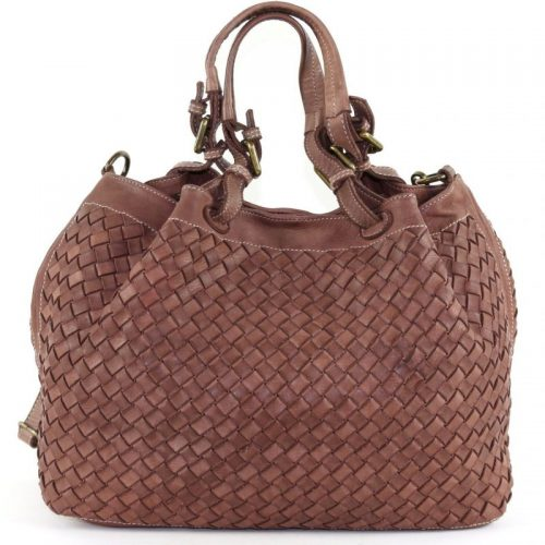 LUCIA Tote Bag Large Weave Brown