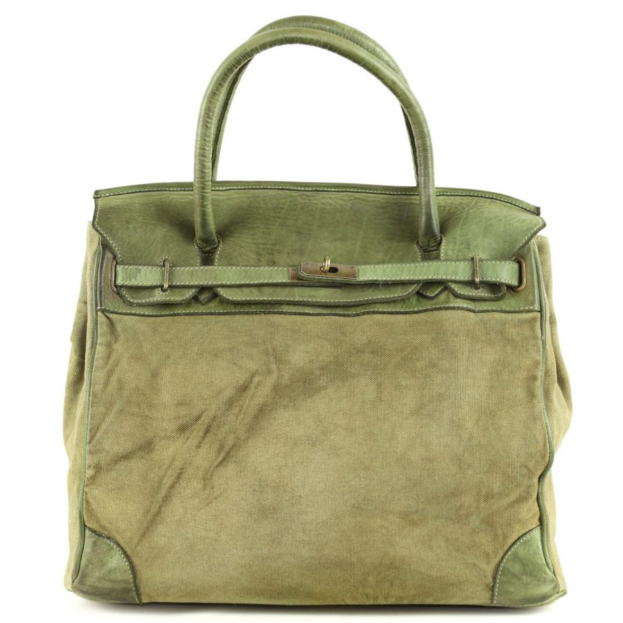ALICIA Structured Bag With Canvas Inserts Khaki