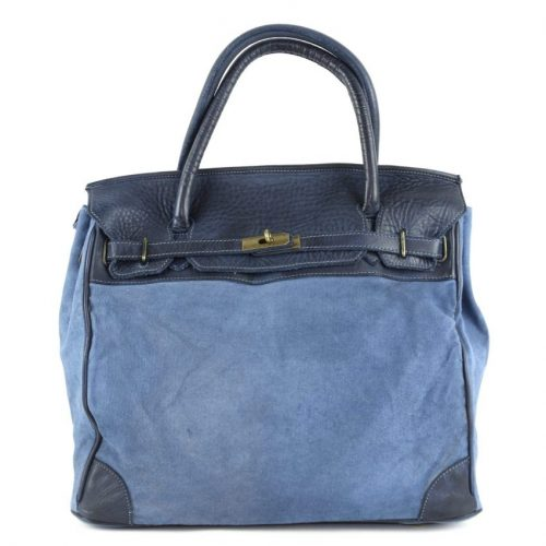 ALICIA Structured Bag With Canvas Inserts Denim