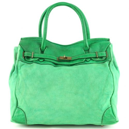 ALICIA Structured Bag With Canvas Inserts Bright Green