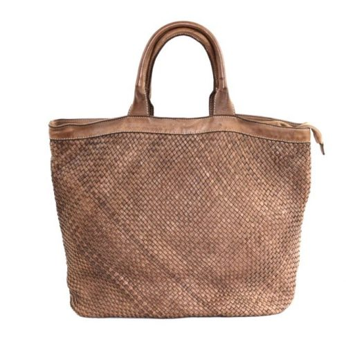 CHIARA Small Weave Tote Bag Light Brown