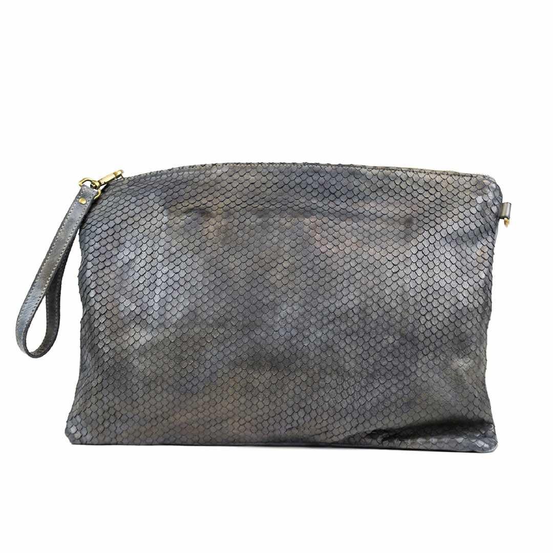 GIORGIA Textured Large Clutch Bag Grey