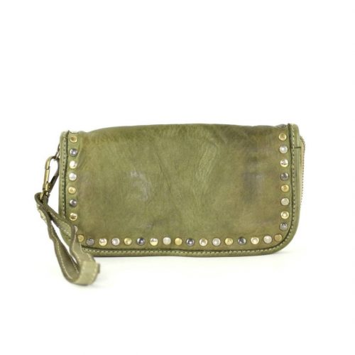 SIMONA Wrist Wallet With Studs Army