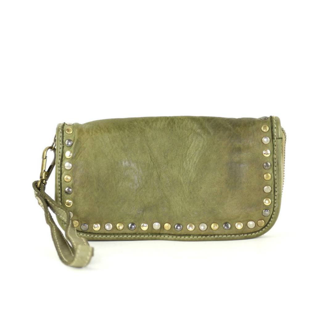 SIMONA Wrist Wallet With Studs Army