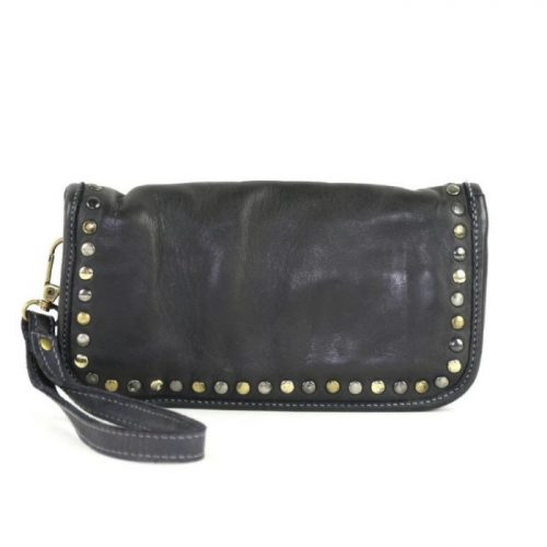 SIMONA Wrist Wallet With Studs Black