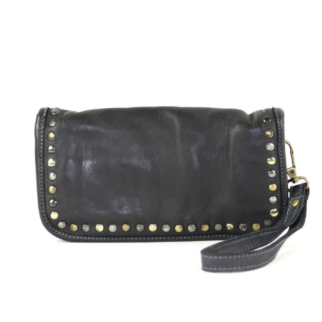 SIMONA Wrist Wallet With Studs Black