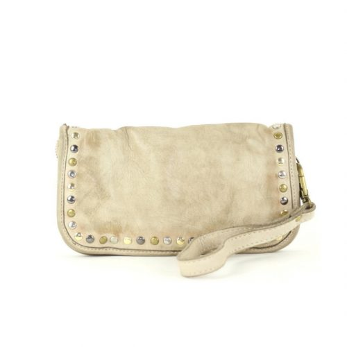 SIMONA Wrist Wallet With Studs Cream