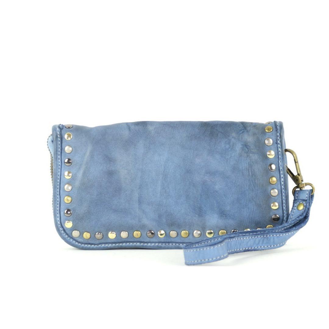 SIMONA Wrist Wallet With Studs Denim