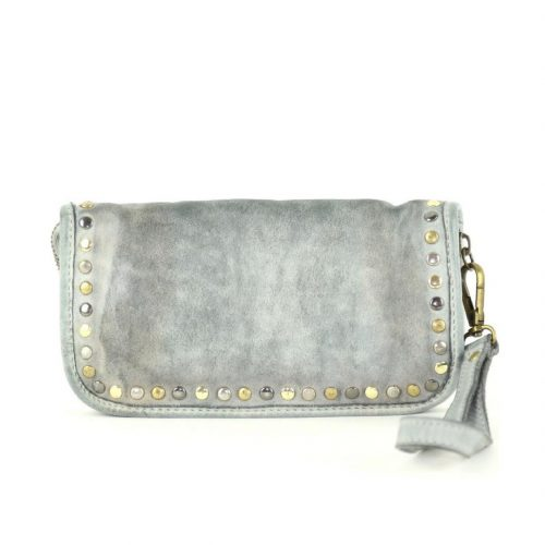 SIMONA Wrist Wallet With Studs Light Grey