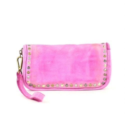 SIMONA Wrist Wallet With Studs Fuchsia