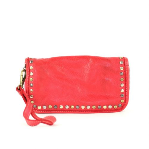 SIMONA Wrist Wallet With Studs Red