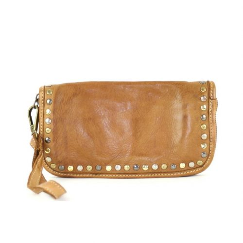 SIMONA Wrist Wallet With Studs Tan
