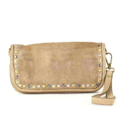 SIMONA Wrist Wallet With Studs Taupe