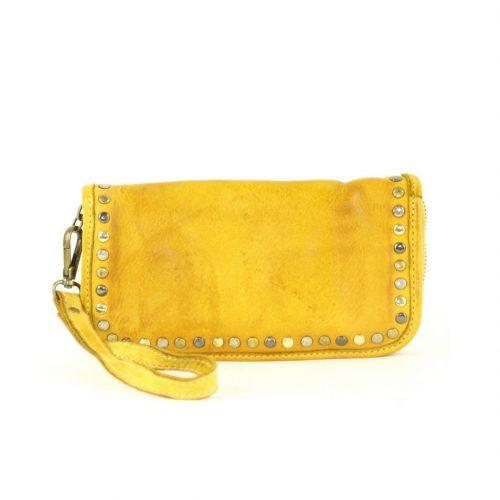 SIMONA Wrist Wallet With Studs Yellow
