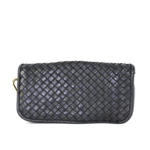 SIMONETTA Woven Wrist Wallet Black