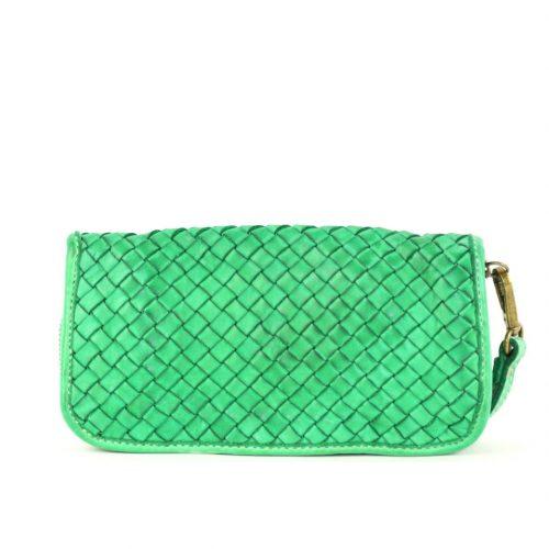 SIMONETTA Woven Wrist Wallet Emerald Green