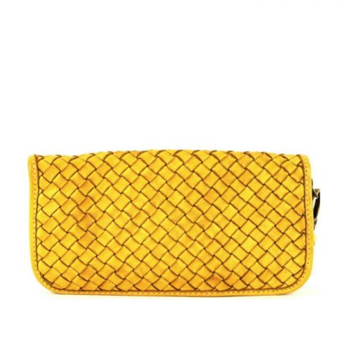 SIMONETTA Woven Wrist Wallet Yellow