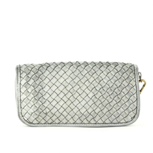 SIMONETTA Woven Wrist Wallet Light Grey