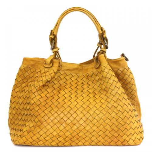 LUCIA Tote Bag Large Weave Mustard
