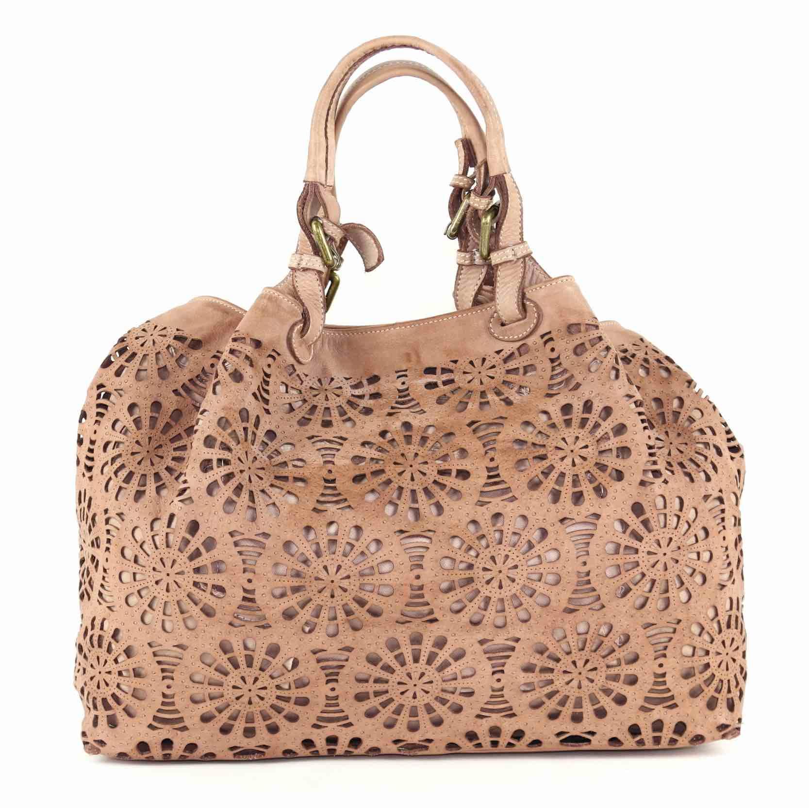 LUCIA Tote Bag Laser Cut Detail Blush