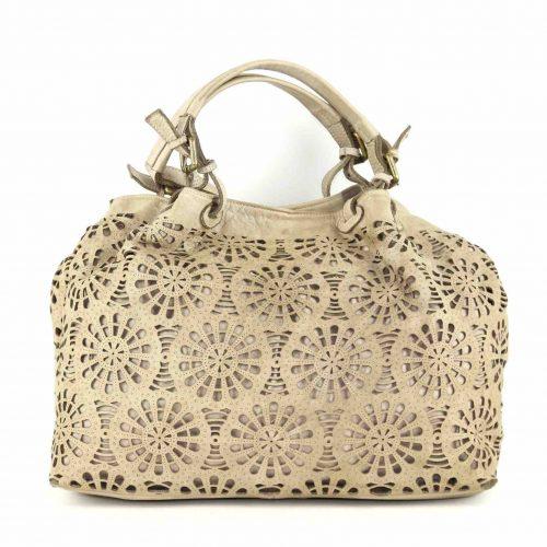 LUCIA Tote Bag Laser Cut Detail Cream