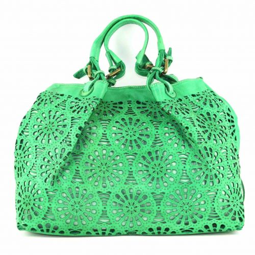 LUCIA Tote Bag Laser Cut Detail Bright Green