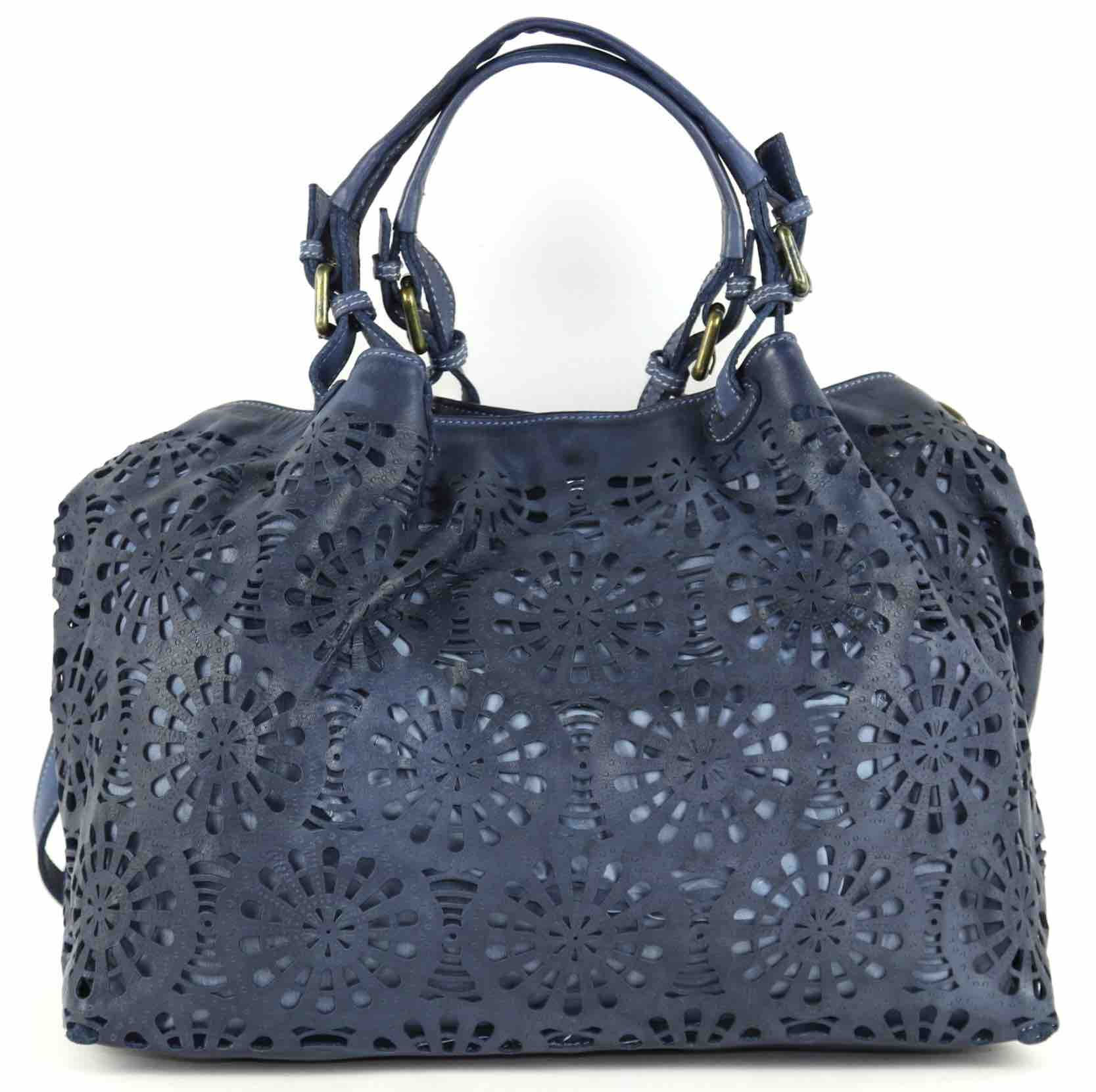 LUCIA Tote Bag Laser Cut Detail Navy