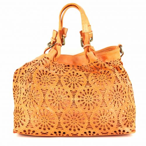 LUCIA Tote Bag Laser Cut Detail Orange