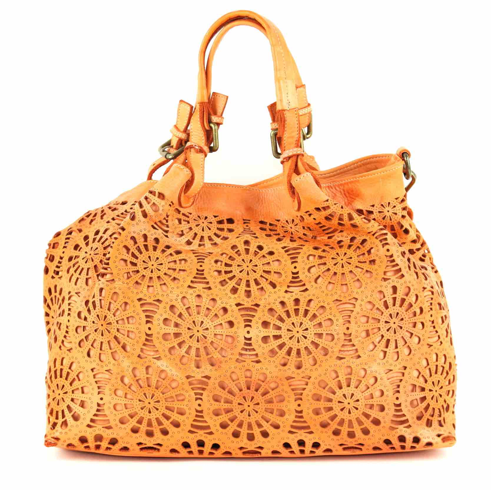 LUCIA Tote Bag Laser Cut Detail Orange