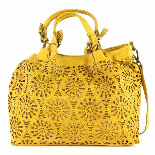 LUCIA Tote Bag Laser Cut Detail Mustard