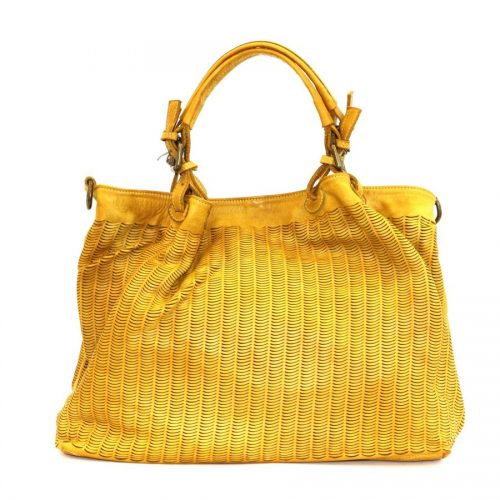LUCIA Tote Bag Moon Cut Out Detail Yellow