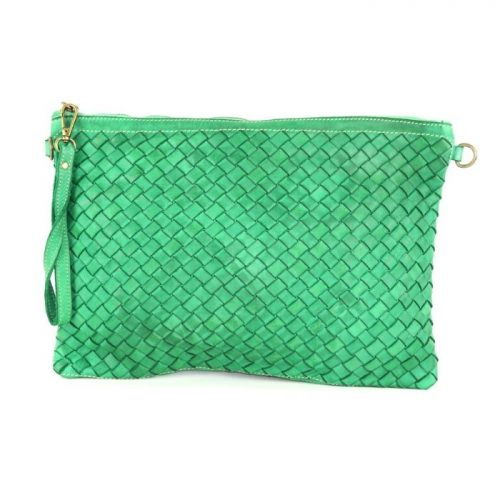 GIORGIA Woven Large Clutch Bag Emerald Green