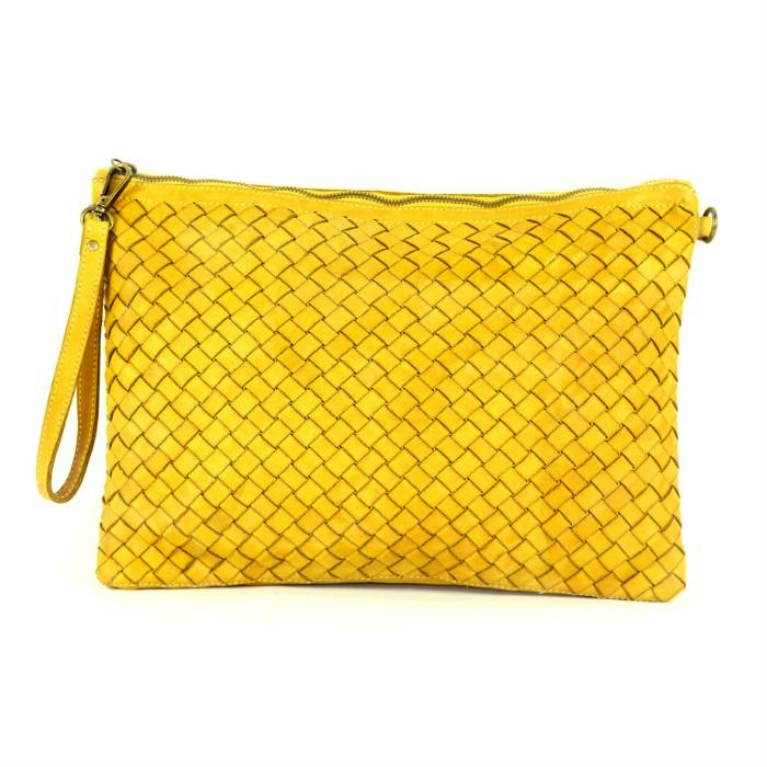 GIORGIA Woven Large Clutch Bag Mustard