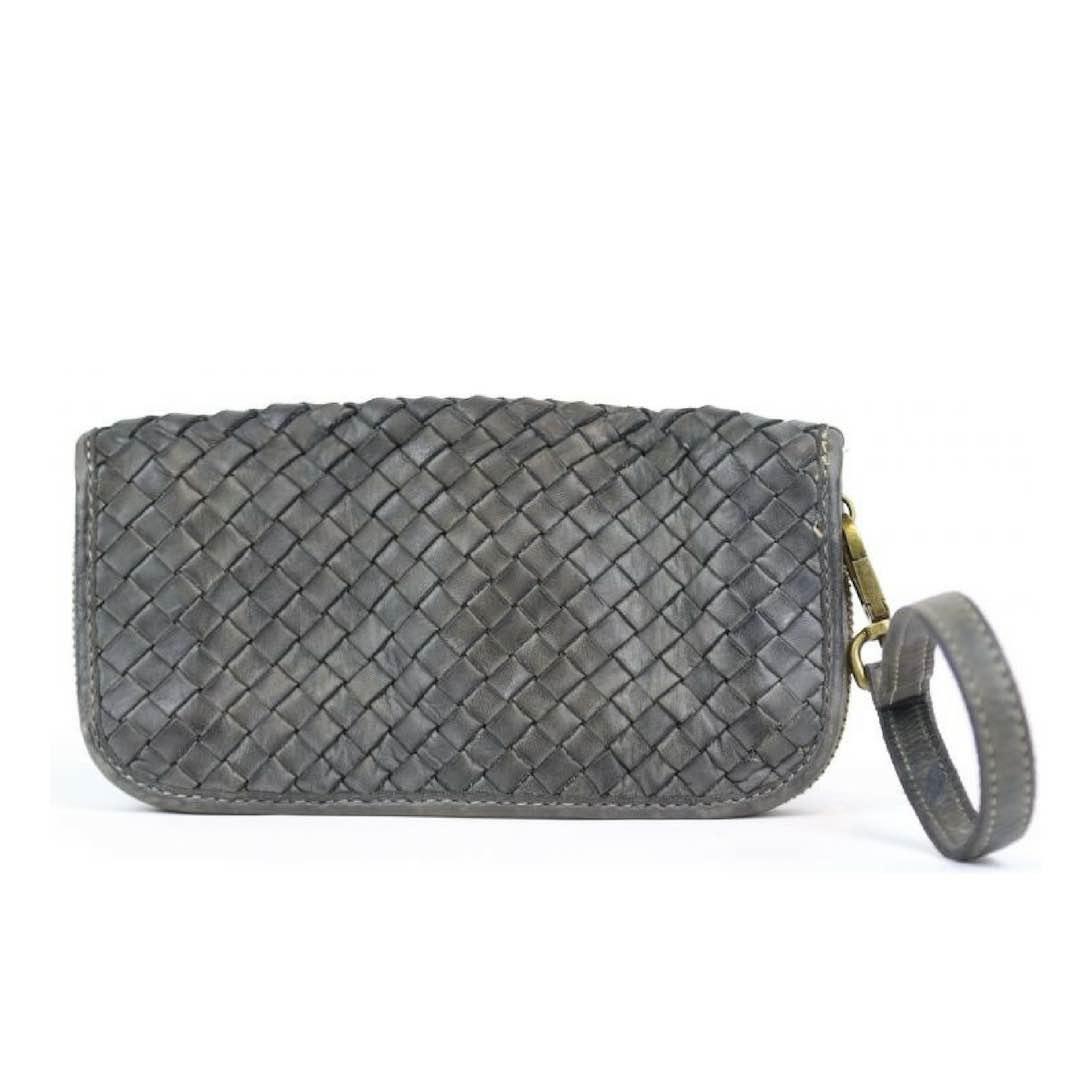SIMONETTA Woven Wrist Wallet Grey