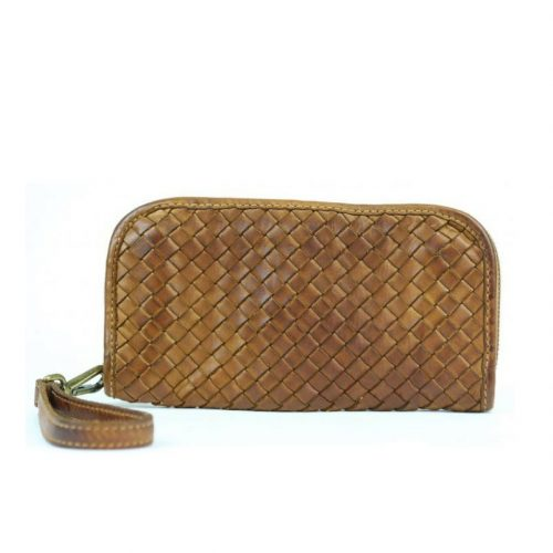 SIMONETTA Woven Wrist Wallet Tan