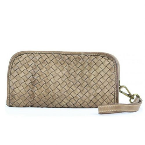 SIMONETTA Woven Wrist Wallet Light Taupe